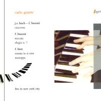 Carlo Grante: Live in New York City. J.S. Bach - F. Busoni: Ciaccona. F. Busoni: Ciaccona. Elegia N. 7. F. Liszt: Sonata in si min. Mazeppa. Carlo Grante: pianoforte. Un'incisione dal vivo, realizzata a New York, in cui C. Grante presenta la Ciaccona di J.S. Bach nella trascrizione-interpretazione di F. Busoni e, dello stesso autore, l'Elegia n.7 (1907-1909) e la Toccata, pubblicata nel 1921. La seconda parte del programma presenta due importanti opere di F. Liszt: la Sonata in si min. del 1855, dedicata a R. Schumann, culmine di un lungo periodo di riflessione dell'autore sulla musica contemporanea; e lo Studio n. 4 in re (1826), pubblicato nel 1840 con il nome di Mazeppa e dedicato a V. Hugo. Esperia P004. Disponibile. € 10,00 - sconto 30% > € 7,00